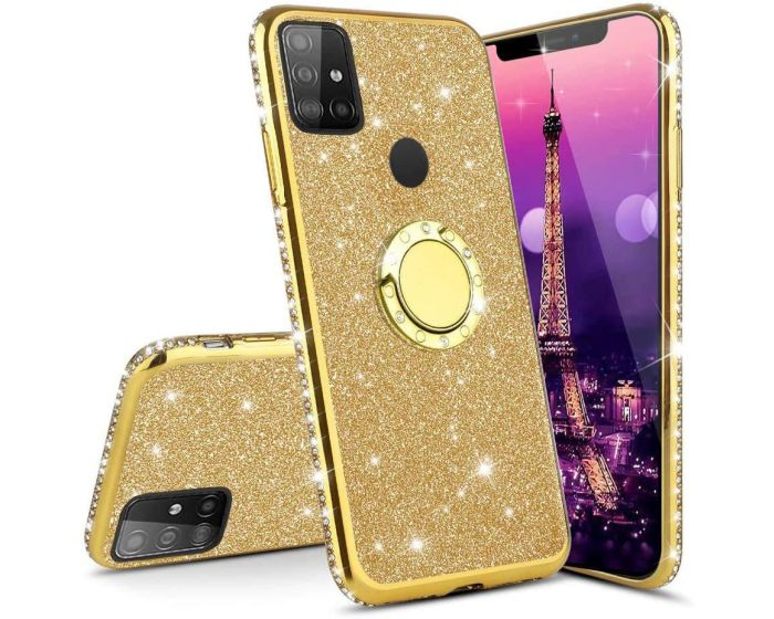 Diamond Ring Case με Electro Bumper και Glitter - Gold (Samsung Galaxy M21 / M30s)