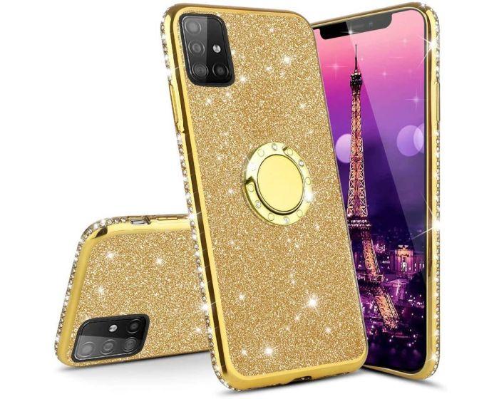 Diamond Ring Case με Electro Bumper και Glitter - Gold (Samsung Galaxy S10 Lite)