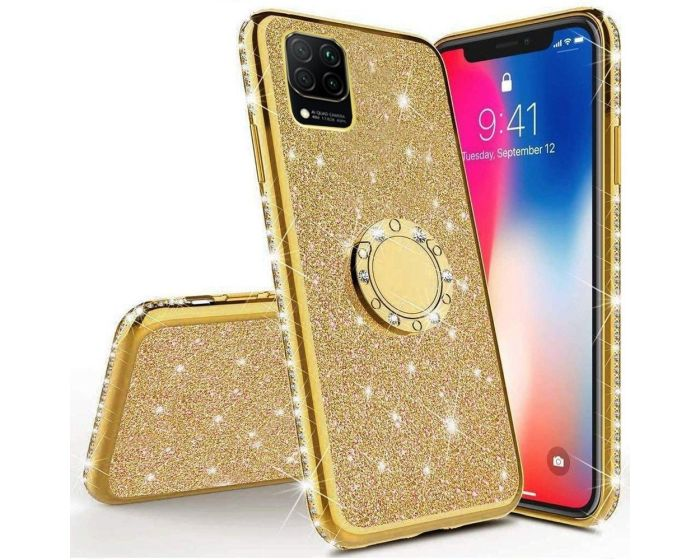 Diamond Ring Case με Electro Bumper και Glitter - Gold (Huawei Y5P / Honor 9s)
