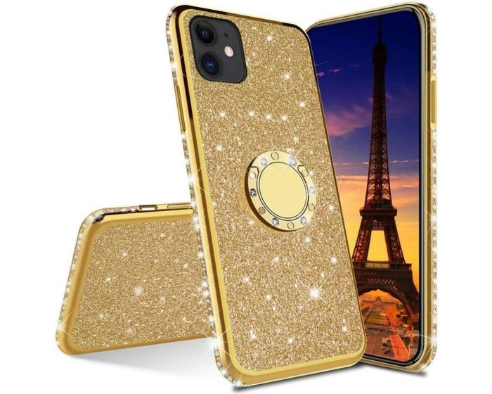 Diamond Ring Case με Electro Bumper και Glitter - Gold (iPhone 12 / 12 Pro)