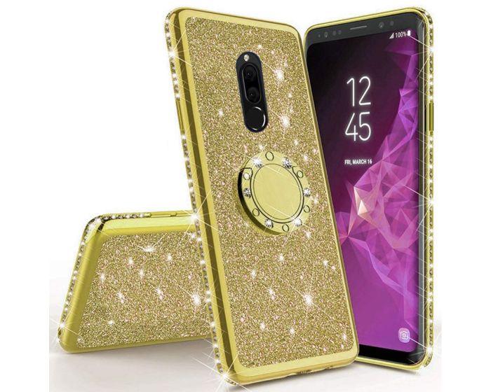 Diamond Ring Case με Electro Bumper και Glitter - Gold (Xiaomi Redmi 8)