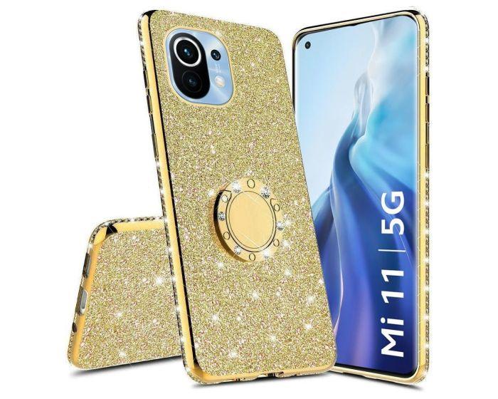 Diamond Ring Case με Electro Bumper και Glitter - Gold (Xiaomi Mi 11)