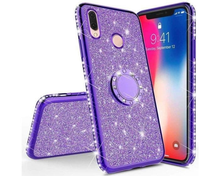 Diamond Ring Case με Electro Bumper και Glitter - Purple (Xiaomi Redmi 7)