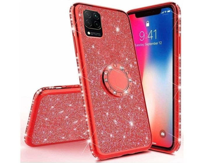 Diamond Ring Case με Electro Bumper και Glitter - Red (Huawei P40 Lite)