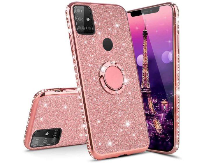 Diamond Ring Case με Electro Bumper και Glitter - Rose Gold (Samsung Galaxy M21 / M30s)