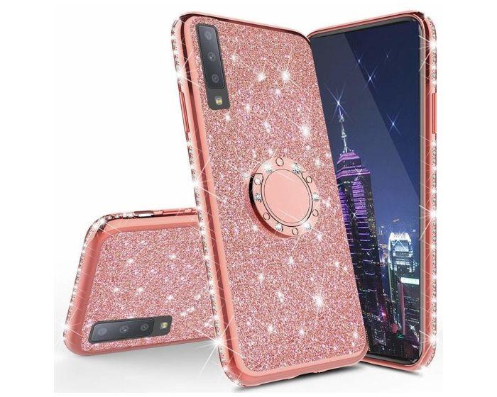 Diamond Ring Case με Electro Bumper και Glitter - Rose Gold (Samsung Galaxy A70)