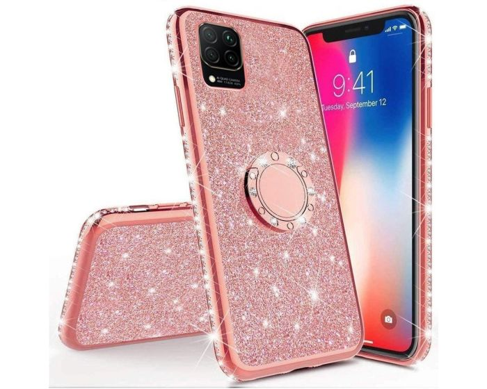 Diamond Ring Case με Electro Bumper και Glitter - Rose Gold (Huawei Y5P / Honor 9s)