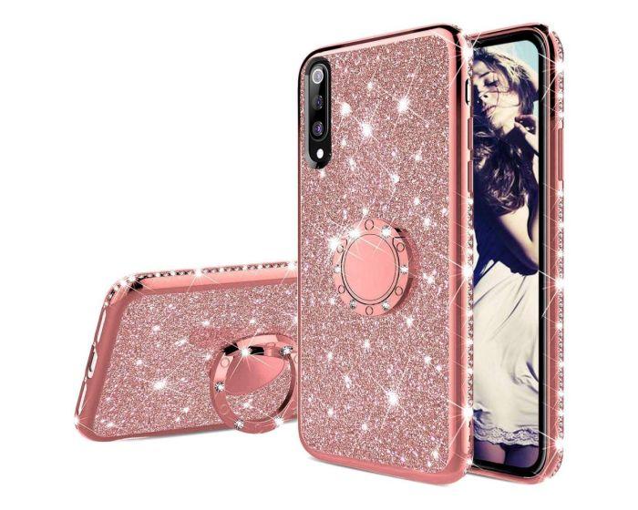 Diamond Ring Case με Electro Bumper και Glitter - Rose Gold (Xiaomi Mi9 SE)