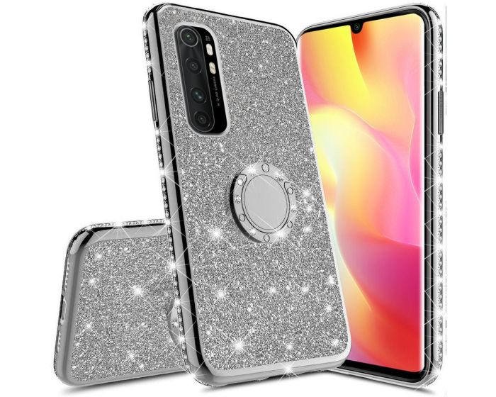 Diamond Ring Case με Electro Bumper και Glitter - Silver (Xiaomi Mi Note 10 Lite)