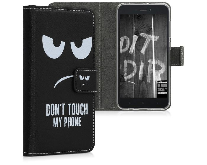 KWmobile Wallet Case Θήκη Πορτοφόλι με δυνατότητα Stand (47715.01) Don't touch my phone (Xiaomi Redmi Go)