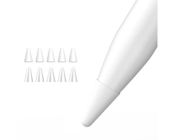 Dux Ducis 10x Nibs Writing Cover Θήκη Σιλικόνης για Μύτη του Apple Pencil 1 / 2 - Transparent / White