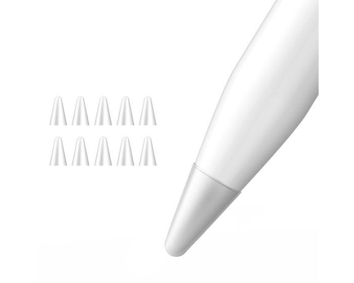 Dux Ducis 10x Nibs Writing Cover Θήκη Σιλικόνης για Μύτη του Apple Pencil 1 / 2 - Transparent