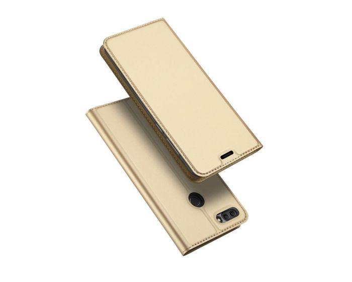 DUX DUCIS SkinPro Wallet Case Θήκη Πορτοφόλι με Δυνατότητα Stand - Gold (Huawei Y9 2018)