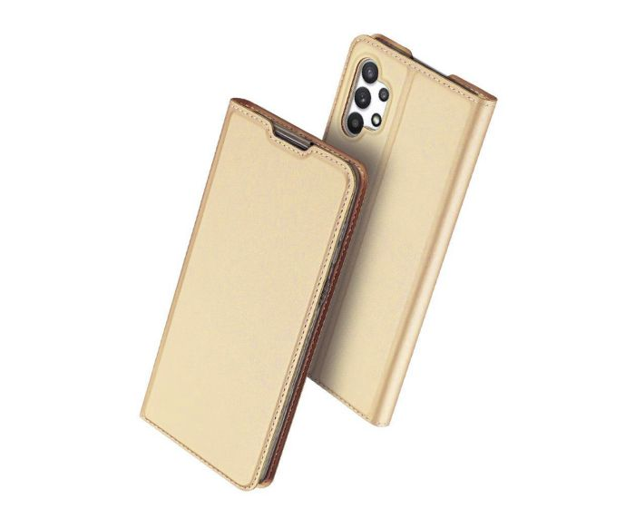 DUX DUCIS SkinPro Wallet Case Θήκη Πορτοφόλι με Stand - Gold (Samsung Galaxy A32 4G)