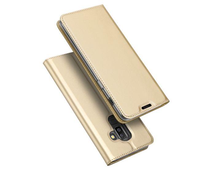 DUX DUCIS SkinPro Wallet Case Θήκη Πορτοφόλι με Stand - Gold (Samsung Galaxy J8 2018)