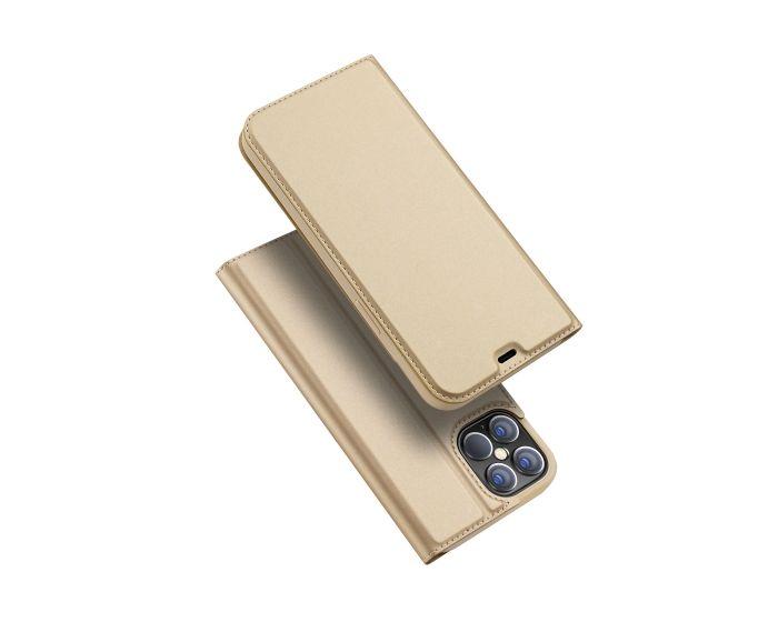 DUX DUCIS SkinPro Wallet Case Θήκη Πορτοφόλι με Stand - Gold (iPhone 12 Pro Max)
