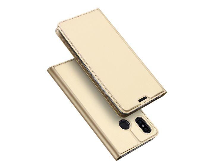 DUX DUCIS SkinPro Wallet Case Θήκη Πορτοφόλι με Stand - Gold (Xiaomi Redmi Note 6 Pro)