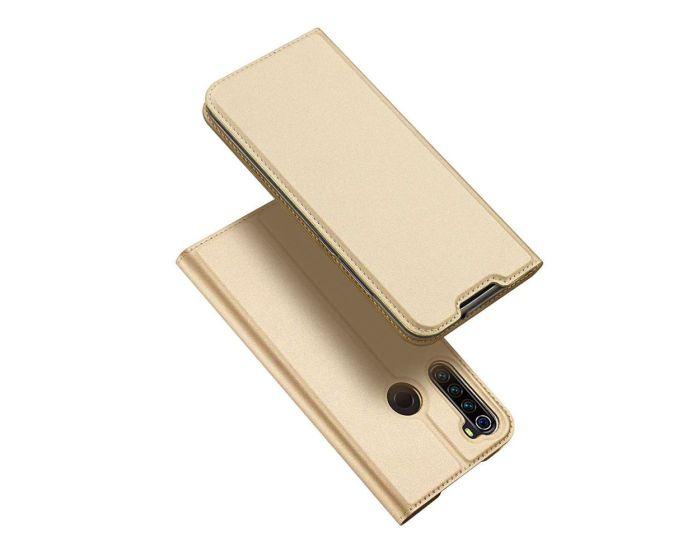 DUX DUCIS SkinPro Wallet Case Θήκη Πορτοφόλι με Stand - Gold (Xiaomi Redmi Note 8T)