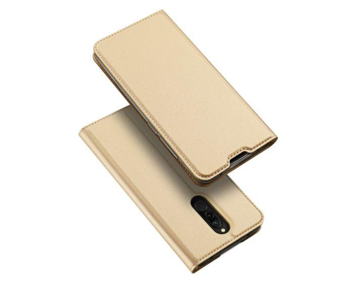 DUX DUCIS SkinPro Wallet Case Θήκη Πορτοφόλι με Stand - Gold (Xiaomi Redmi 8)