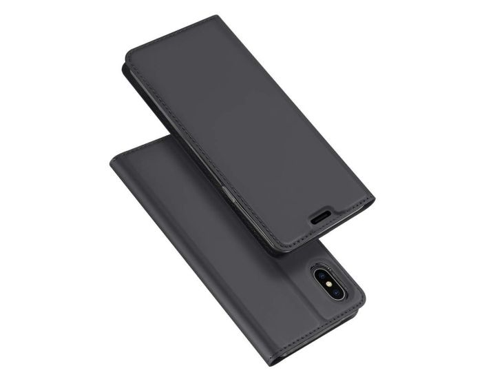 DUX DUCIS SkinPro Wallet Case Θήκη Πορτοφόλι με Stand - Gray (iPhone Xs Max)