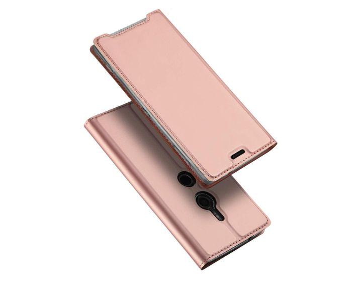 DUX DUCIS SkinPro Wallet Case Θήκη Πορτοφόλι με Stand - Rose Gold (Sony Xperia XZ3)