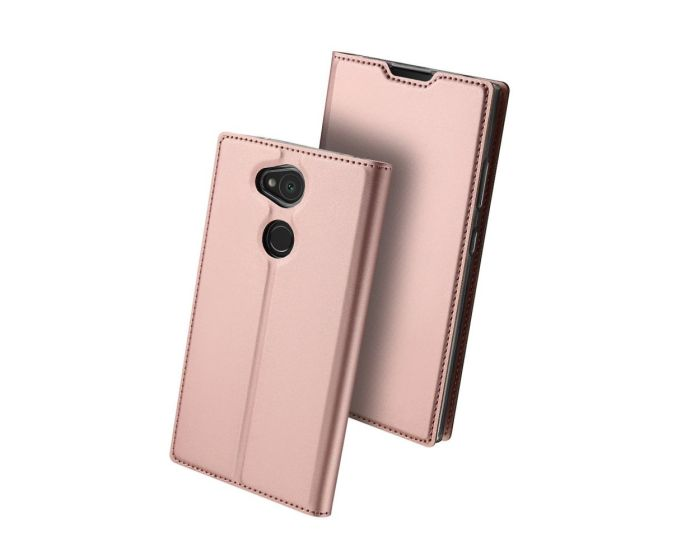 DUX DUCIS SkinPro Wallet Case Θήκη Πορτοφόλι με Stand - Rose Gold (Sony Xperia L2)