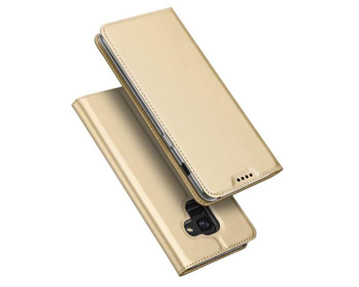 DUX DUCIS SkinPro Wallet Case Θήκη Πορτοφόλι με Stand - Gold (Samsung Galaxy A8 Plus 2018)