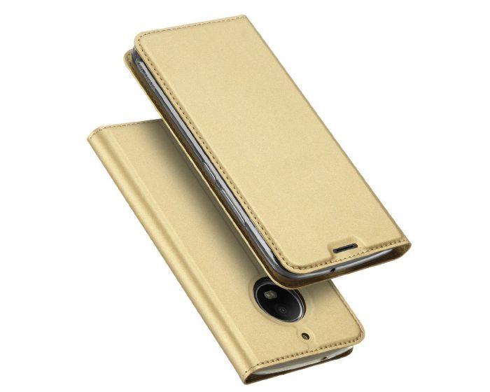 DUX DUCIS SkinPro Wallet Case Θήκη Πορτοφόλι με Δυνατότητα Stand - Gold (Motorola Moto G5s)