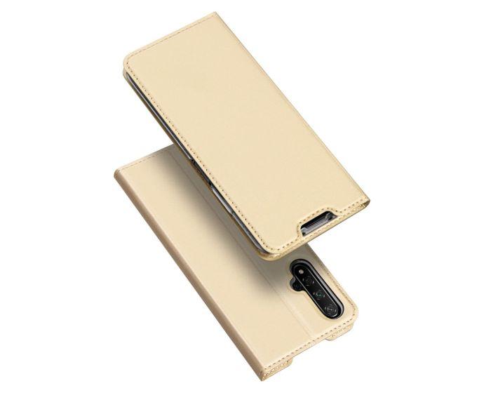 DUX DUCIS SkinPro Wallet Case Θήκη Πορτοφόλι με Stand - Gold (Huawei Nova 5T / Honor 20)