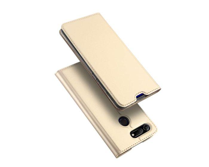 DUX DUCIS SkinPro Wallet Case Θήκη Πορτοφόλι με Stand - Gold (Huawei Honor View 20)