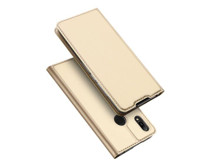 DUX DUCIS SkinPro Wallet Case Θήκη Πορτοφόλι με Stand - Gold (Huawei Y6 2019 / Honor 8A)