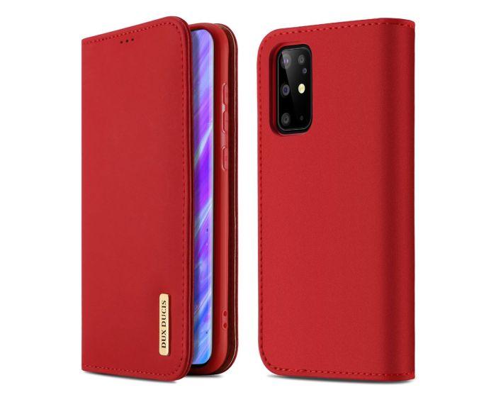 DUX DUCIS Wish Leather Wallet Case Δερμάτινη Θήκη με Δυνατότητα Stand - Red (Samsung Galaxy S20 Plus)