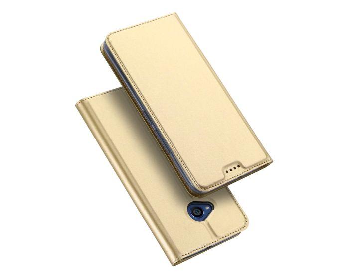 DUX DUCIS SkinPro Wallet Case Θήκη Πορτοφόλι με Δυνατότητα Stand - Gold (HTC U11 Life)