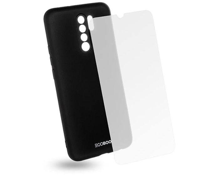 EGOBOO Rubber TPU Case + Tempered Glass Θήκη Σιλικόνης Black (Xiaomi Redmi 9)
