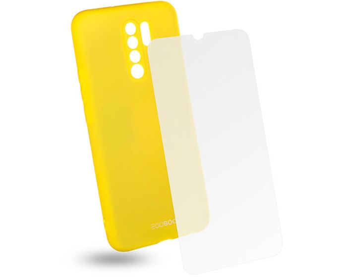 EGOBOO Rubber TPU Case + Tempered Glass Θήκη Σιλικόνης Lime (Xiaomi Redmi 9)