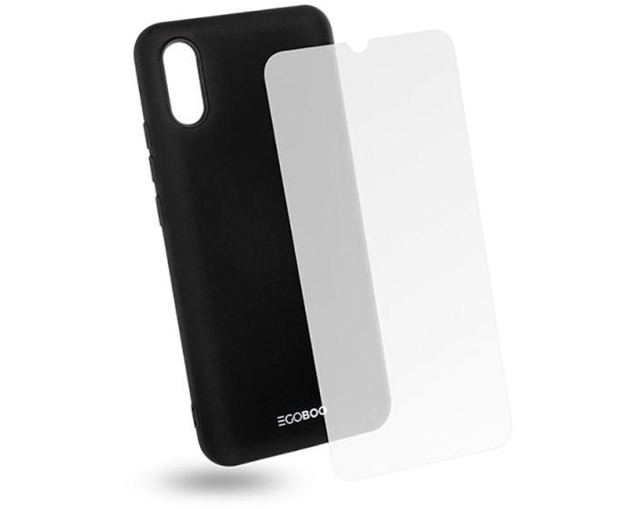 EGOBOO Rubber TPU Case + Tempered Glass Θήκη Σιλικόνης Black (Xiaomi Redmi 9A / 9AT)