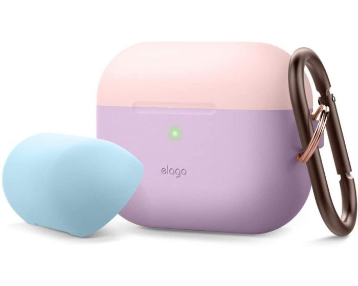 Elago DUO Silicone Hang Case (EAPPDH-LV-LPKPBL) Θήκη Σιλικόνης για Apple AirPods Pro - Lovely Pink / Pastel Blue / Lavender