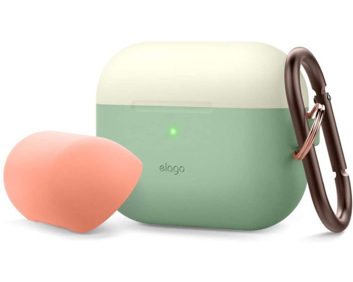 Elago DUO Silicone Hang Case (EAPPDH-PGR-CWHPE) Θήκη Σιλικόνης για Apple AirPods Pro - Classic White / Peach / Pastel Green