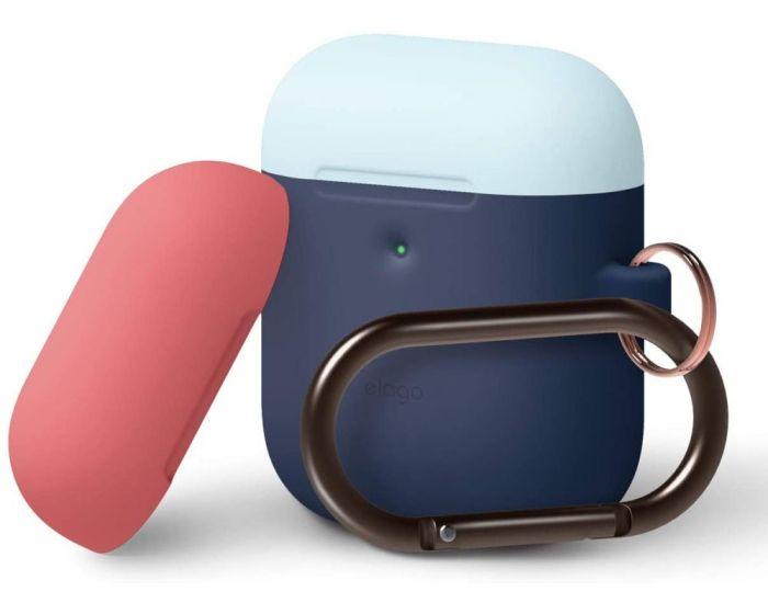 Elago DUO Silicone Hang Case (EAP2DH-JIN-PBLIR) Θήκη Σιλικόνης για Apple AirPods - Jean Indigo / Pastel Blue / Italian Rose