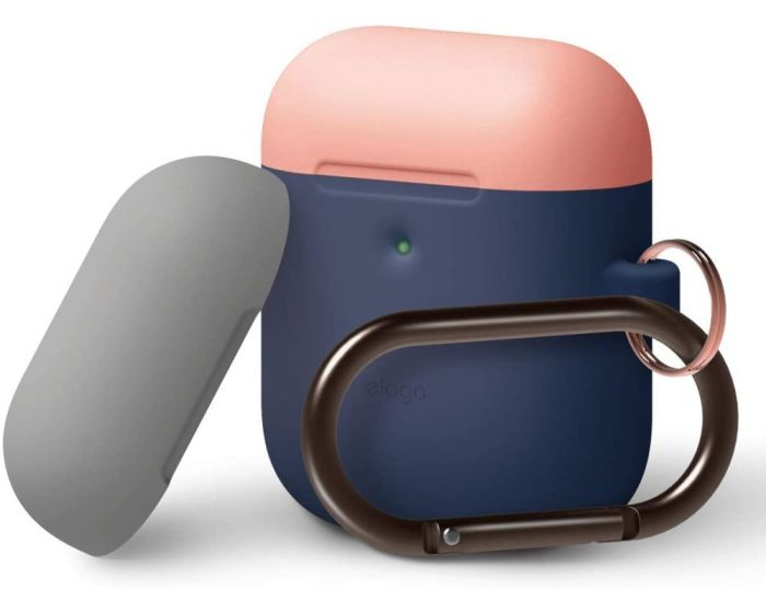 Elago DUO Silicone Hang Case (EAP2DH-JIN-PEMGY) Θήκη Σιλικόνης για Apple AirPods - Jean Indigo / Peach / Grey