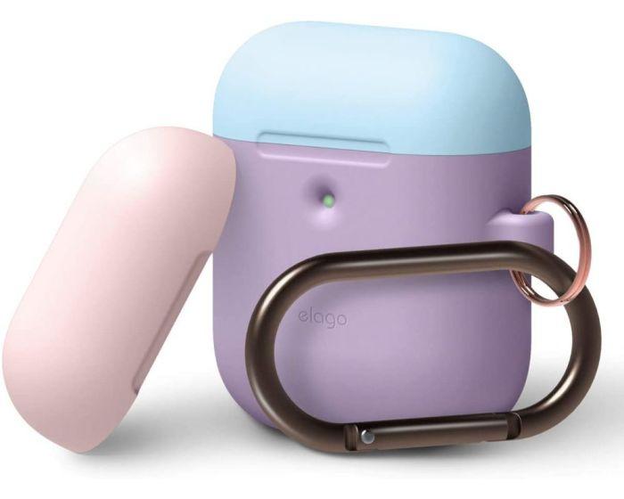 Elago DUO Silicone Hang Case (EAP2DH-LV-PBLPK) Θήκη Σιλικόνης για Apple AirPods - Lavender / Pink / Blue