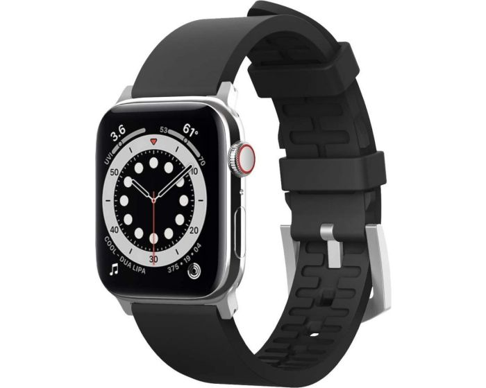 Elago Fluoro Rubber Premium Band (EAW-BAND-44BK) Ανθεκτικό Λουράκι Σιλικόνης για Apple Watch 42/44mm 1/2/3/4/5/6/SE - Black