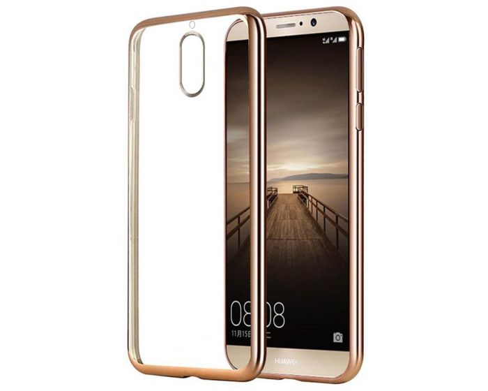 Forcell Electro Bumper Silicone Case Slim Fit - Θήκη Σιλικόνης Clear / Gold (Huawei Mate 9 Pro / Porsche Design)