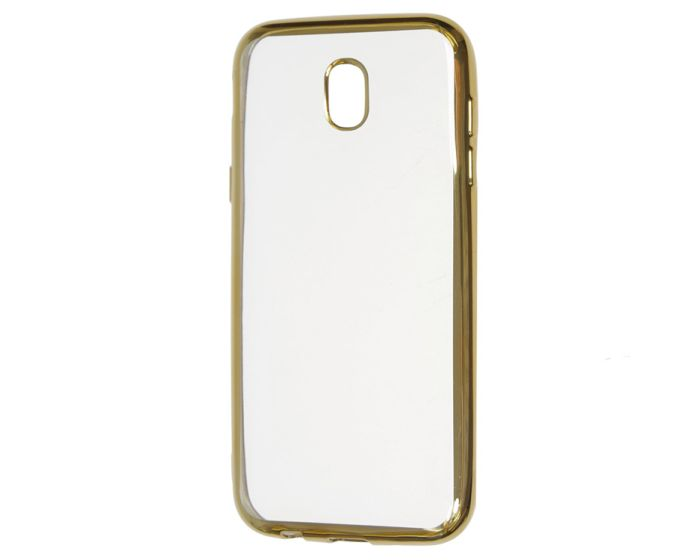 Forcell Electro Bumper Silicone Case Slim Fit - Θήκη Σιλικόνης Clear / Gold (Samsung Galaxy J7 2017)