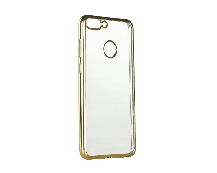 Forcell Electro Bumper TPU Silicone Case Slim Fit - Θήκη Σιλικόνης Clear / Gold (Huawei P Smart)