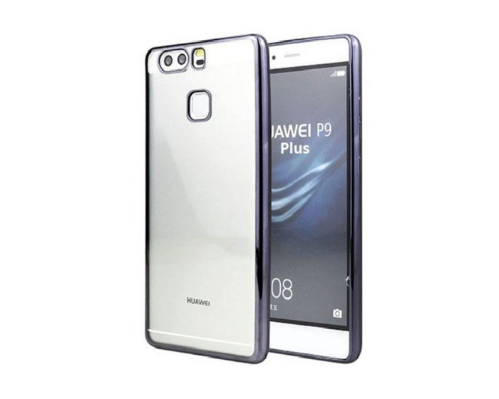 Forcell Electro Bumper Silicone Case Slim Fit - Θήκη Σιλικόνης Clear / Black (Huawei P10 Plus)