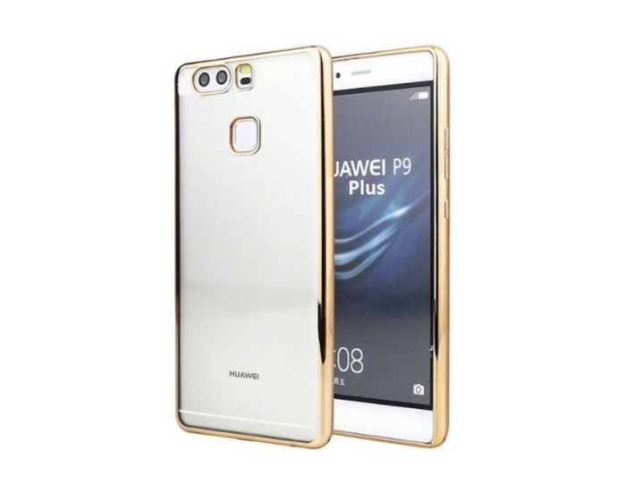 Forcell Electro Bumper Silicone Case Slim Fit - Θήκη Σιλικόνης Clear / Gold (Huawei P9 Plus)