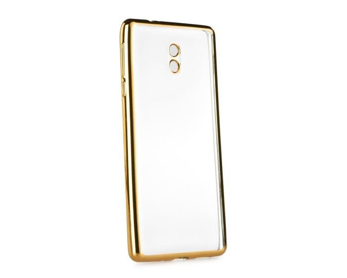 Forcell Electro Bumper TPU Silicone Case Slim Fit - Θήκη Σιλικόνης Clear / Gold (Nokia 3)
