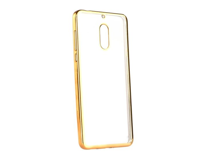 Forcell Electro Bumper TPU Silicone Case Slim Fit - Θήκη Σιλικόνης Clear / Gold (Nokia 6)