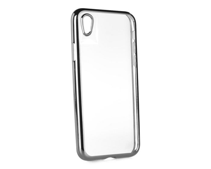 Forcell Electro Bumper Silicone Case Slim Fit - Θήκη Σιλικόνης Clear / Silver (Sony Xperia E5)